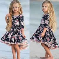 Детское платье с цветочным узором для девочек в американском стиле; кружевные вечерние платья принцессы с цветочным рисунком; От 1 до 6 лет
