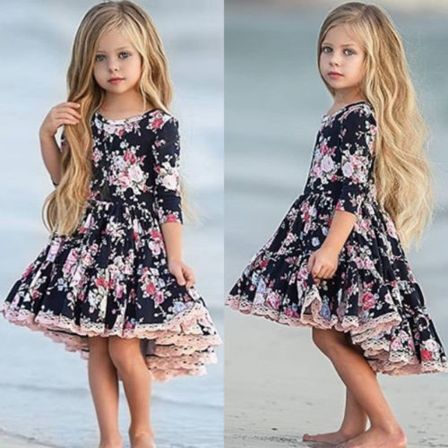 USA Flower Kids Girl Dress Princess Baby Lace Floral Party Pageant Dresses 1-6Y image