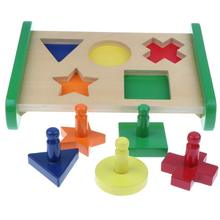 Multicolor Geometry Wooden Block Matching Sorting Puzzle Game Montessori Early Educational Toy for Baby Kids Children