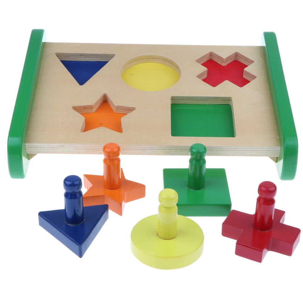 Multicolore géométrie bloc en bois correspondant tri Puzzle jeu Montessori début jouet éducatif pour bébé enfants enfants