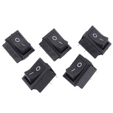 Mayitr 5 Pcs Mini Perahu Rocker Switch 2 Pin SPST On/Off Sesaat Off Rocker Switch AC 250 V /6A 125 V/10A Hitam 15*21 Mm(China)