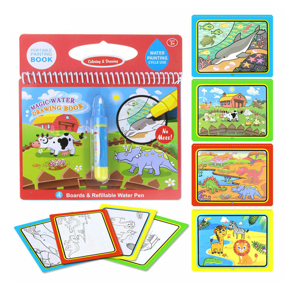 8 Types Magic Water Drawing Book Writing Doodle Book Pen Coloring Board For Children Painting Mat Early Educational Toy for Kids