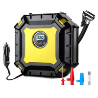 Digital Air Compressor, 12V Compressor Tire 3 Nozzle Adapters with LED Lamp