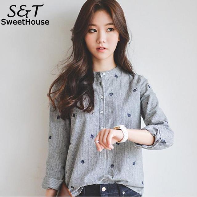 Блузка женская Повседневная Свободная с длинным рукавом вышивка осень/весна полосатая блузка рубашка Топ серый стенд общие кнопки