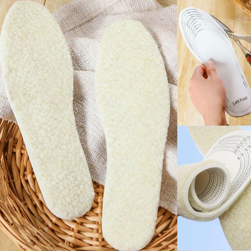 e4273a52d01a 1 Pair Unisex Men Wemen Winter Warm Soft Wool Winter Shoe Insole Pad Size  36-46