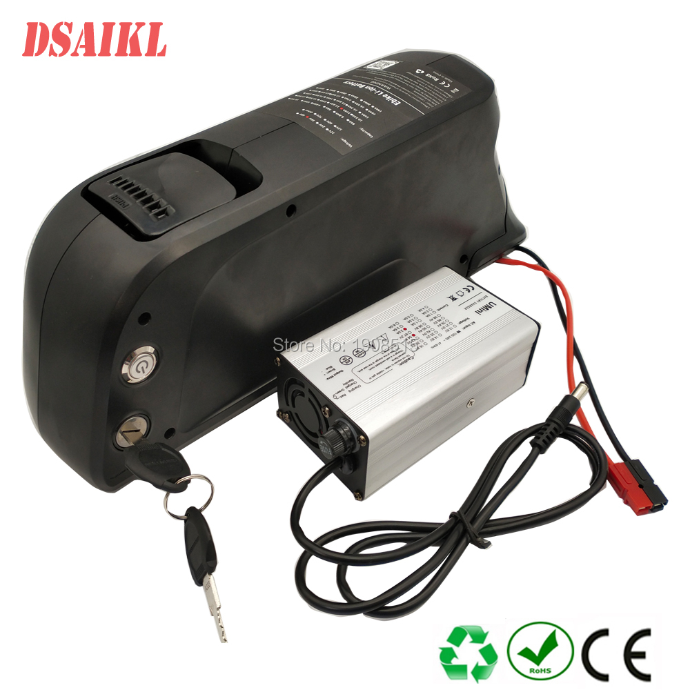 Down tube 52V 10Ah ebike bottle lithium ion battery pack with charger for 8fun BBS02B 750W motor kit