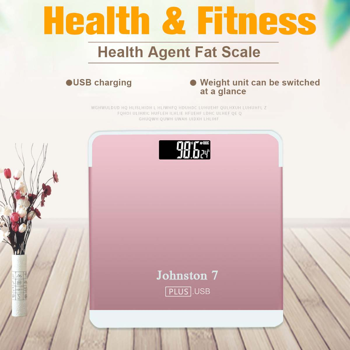 Square Pink Weight Electronic Scale Body Measurable Temperature USB Charging Home Convenient Mini Custom Health Weight Scale
