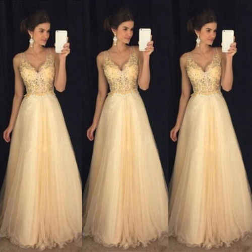 87f76dd0140 Detail Feedback Questions about 2019 Yellow Maxi Dress Women Formal Prom  Sleeveless V Neck Long Lace Sequin Dress Evening Party Wedding Long Maxi  Dress on ...