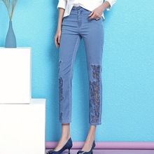 Nordic Winds Cowboy Pencil Pants Woman Summer Slim Hook Flower Process Hollow Out chemical allover lace Jeans women	NW19B6086