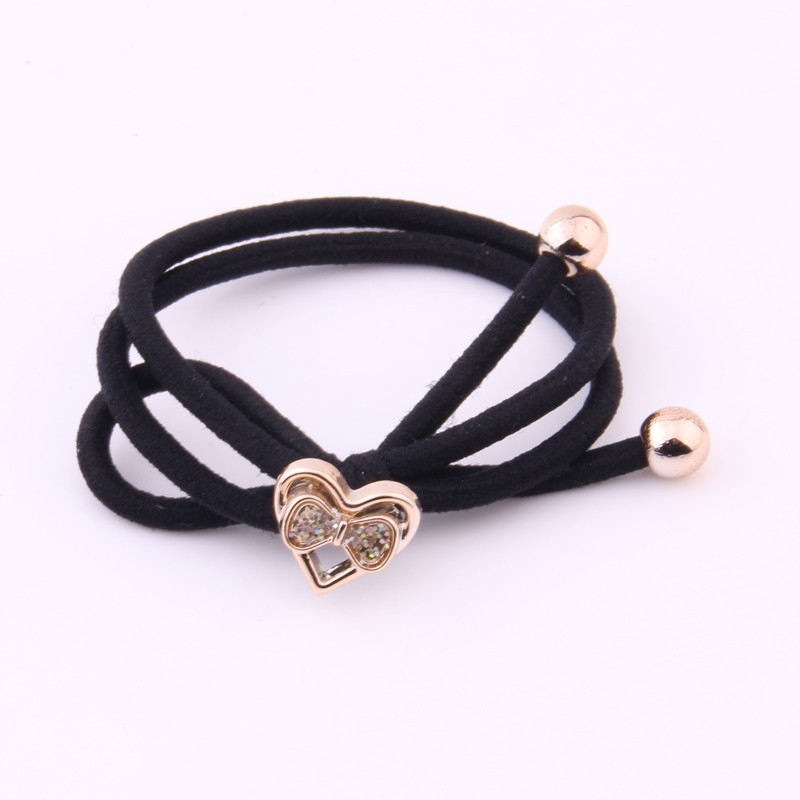 2 Pieces Solid Black Hair Gums Gold Beads Crystal Rubber Band For Two-tones Knot Elastic Hair Bands Kids Hair Accessories