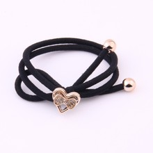 2 Pieces Solid Black Hair Gums Gold Beads Crystal Rubber Band For Two-tones Knot Elastic Bands Kids Accessories