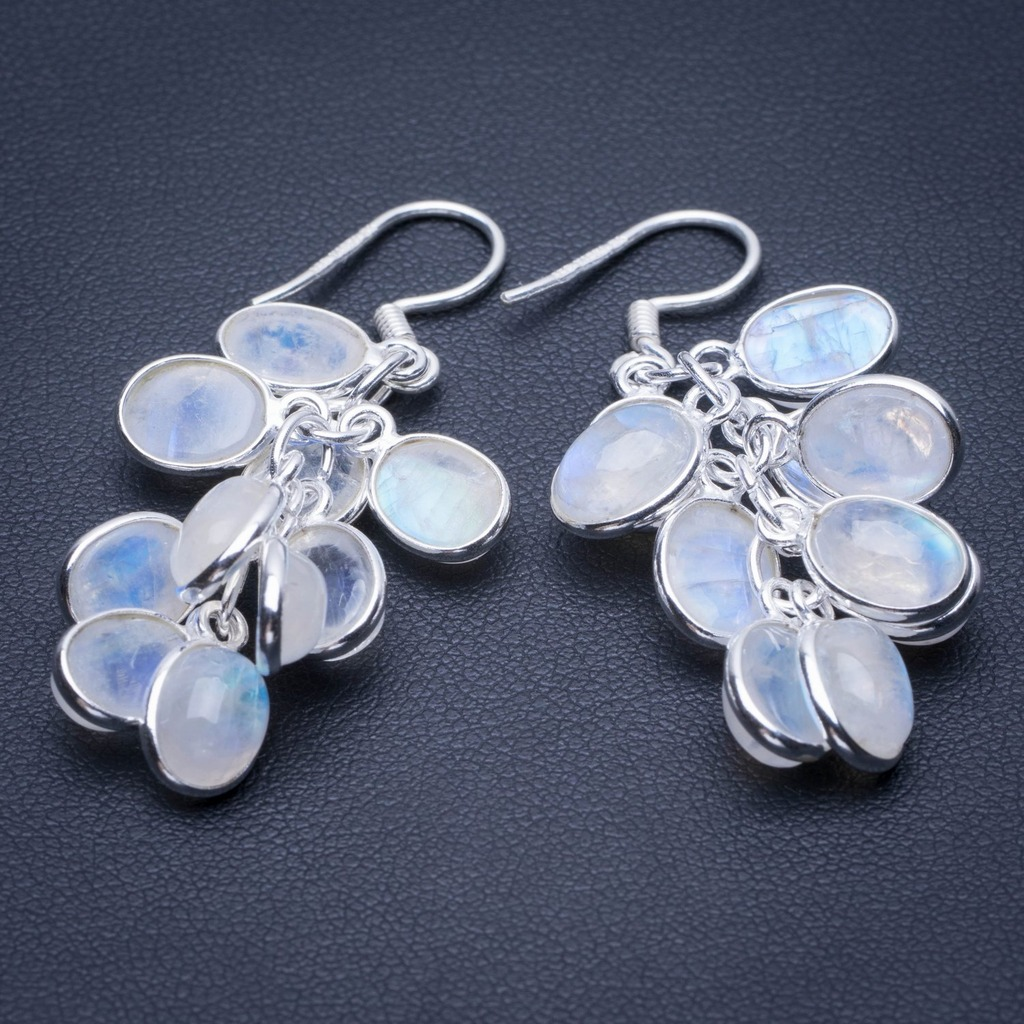 Natural Rainbow Moonstone 925 Sterling Silver Earrings 1.75 Q2819