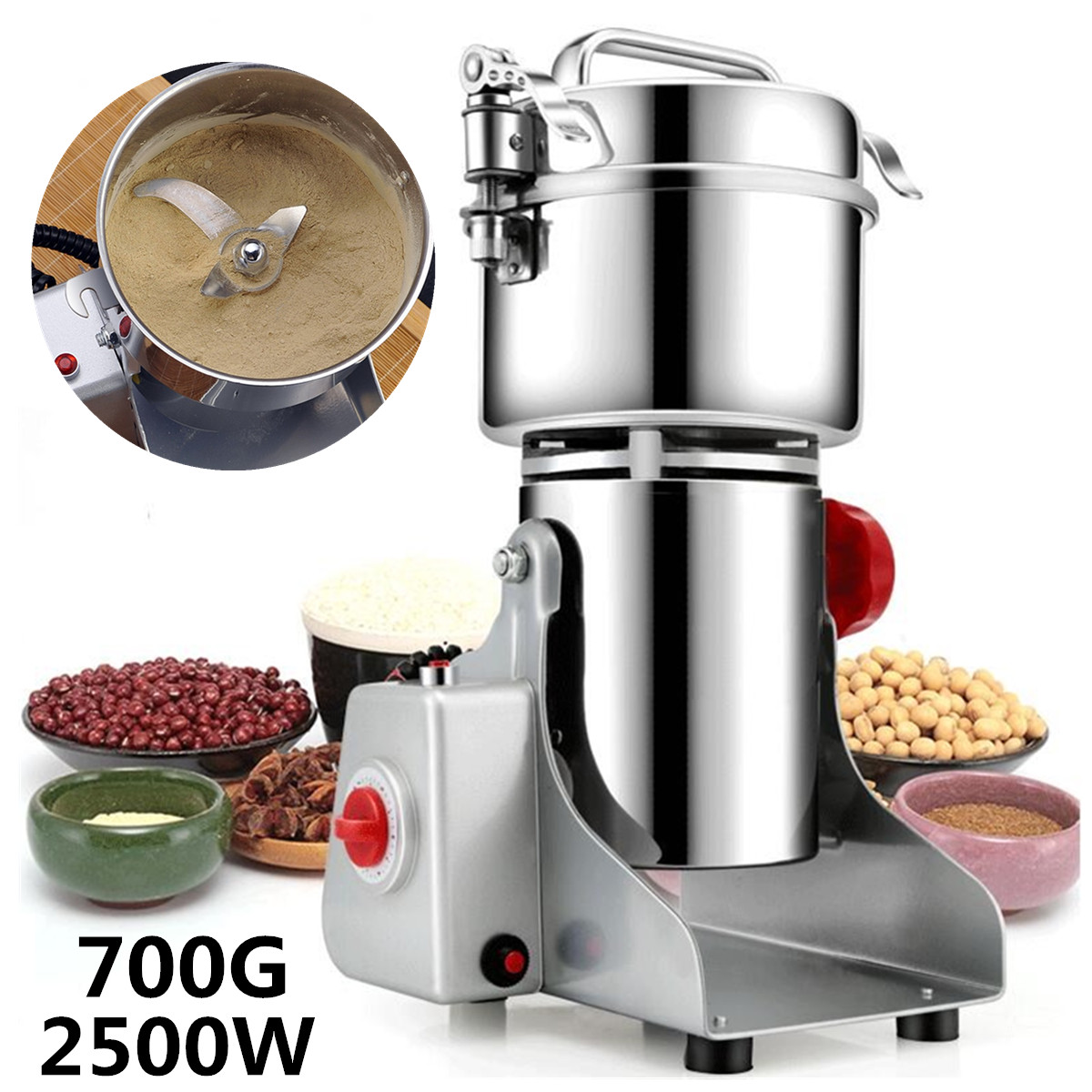 2500W Heavy Stainless Steel Large Powdering Machine Superfine Grinder Traditional Chinese Medicine Grinder Home Electric Blender2500W Heavy Stainless Steel Large Powdering Machine Superfine Grinder Traditional Chinese Medicine Grinder Home Electric Blender