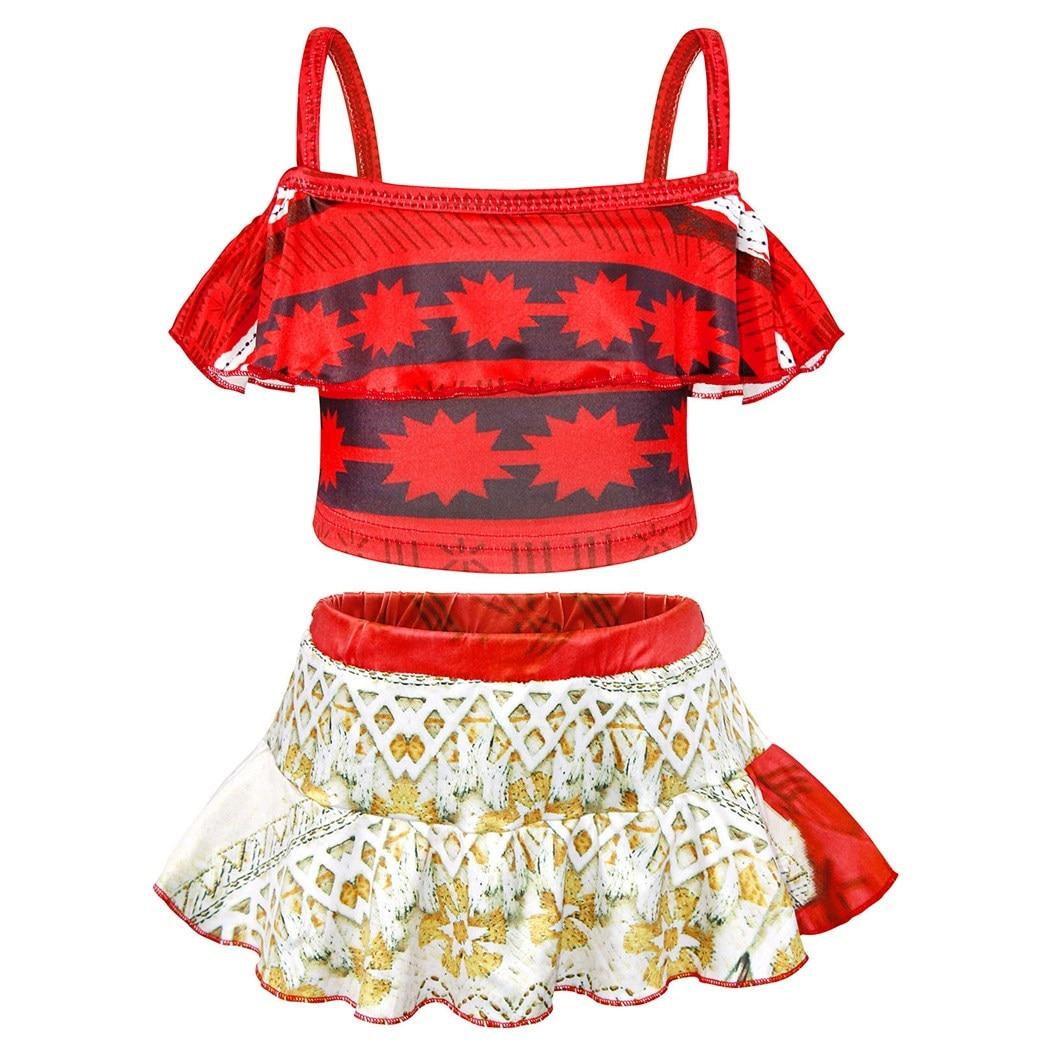 AmzBarley Moana Girls Off The Shoulder Swimwear Ruffle Top Two Piece Tankinis Swimsuit Digital Print Cosplay Costume
