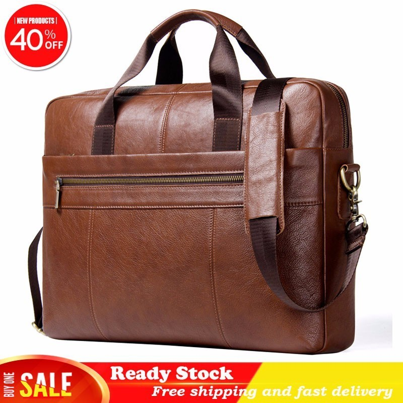 Luxury brand Leather Single Shoulder Package Oblique Satchel Head Layer Cowhide 15 Inch Computer Man Business Affairs Briefcase