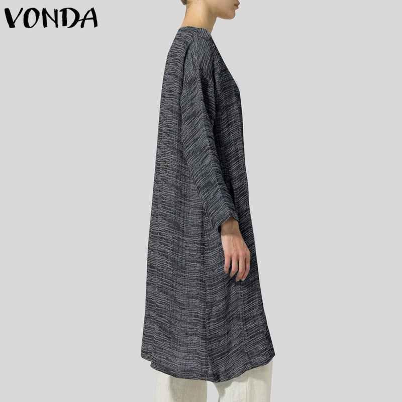 VONDA женский кардиган Тренч 2019 осень весна винтажные повседневные свободные пальто с v-образным вырезом и длинными рукавами верхняя одежда женское пальто плюс размер