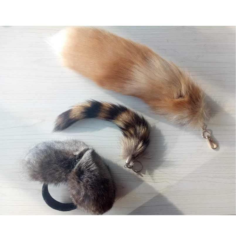 Unisex verdadeira pele de raposa cauda chaveiro com abafadores de peles de coelho real real raccoon fur cauda keychain 3 conjunto preço barato EUA $15 K108