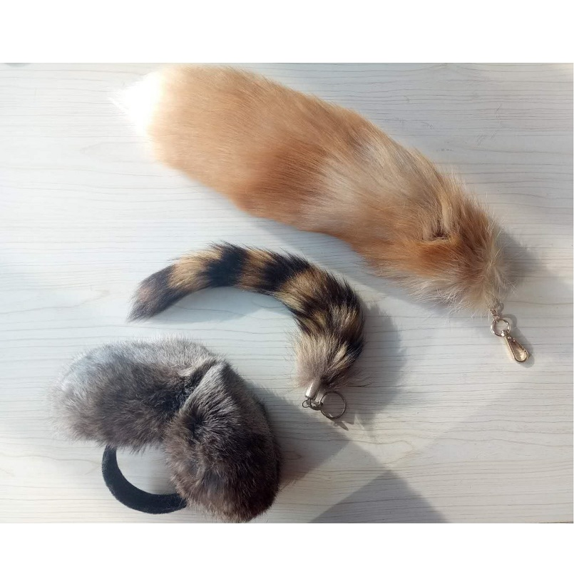 Unisex Real Fox Fur Tail Keychain With Real Rabbit Fur Earmuffs Real Raccoon Fur Tail Keychain 3 Set Cheap Price US$15 K108