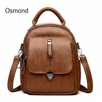 Osmond 2018 Women Back Pack Large Capacity Backpack PU Leather School Bag For Teenage Girl Crossbody Bags Female Knapsack Bolsa