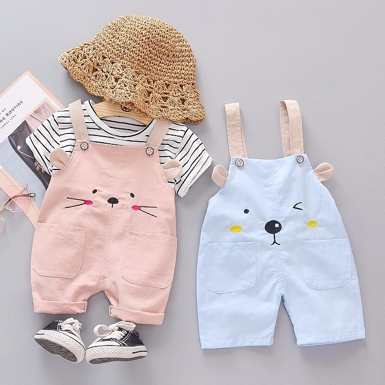 Summer Fashion Baby Girls Clothing Sets Infant Clothes Suits Stripe T Shirt Strap Shorts Kids Sportswear