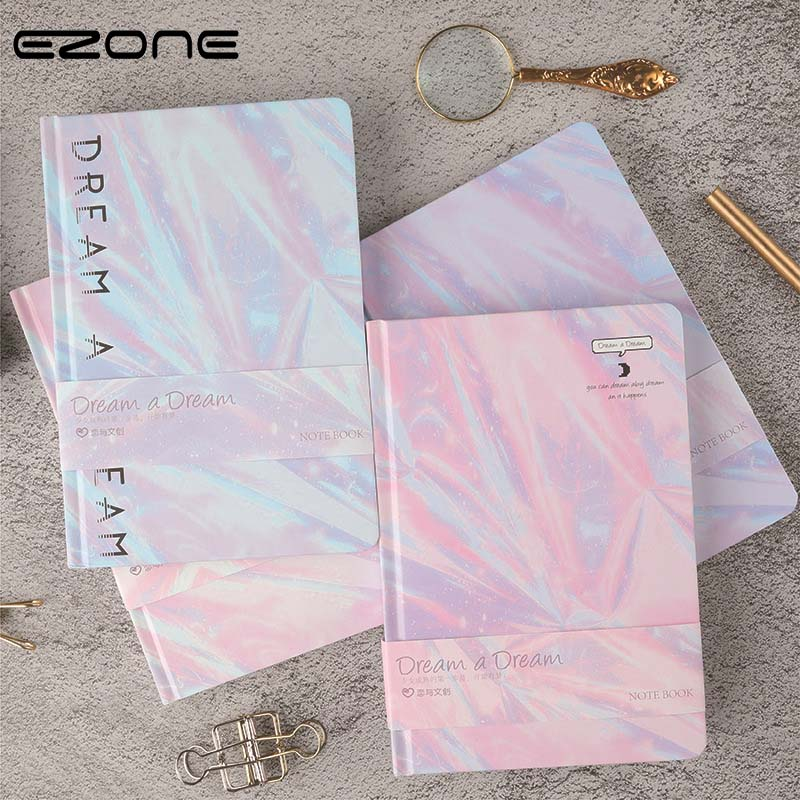EZONE Laser Hard Cover Notebook Line Pages Diary Memo Gradient Pink Purple Notebook 128 Sheets 145*210mm Office School Supply