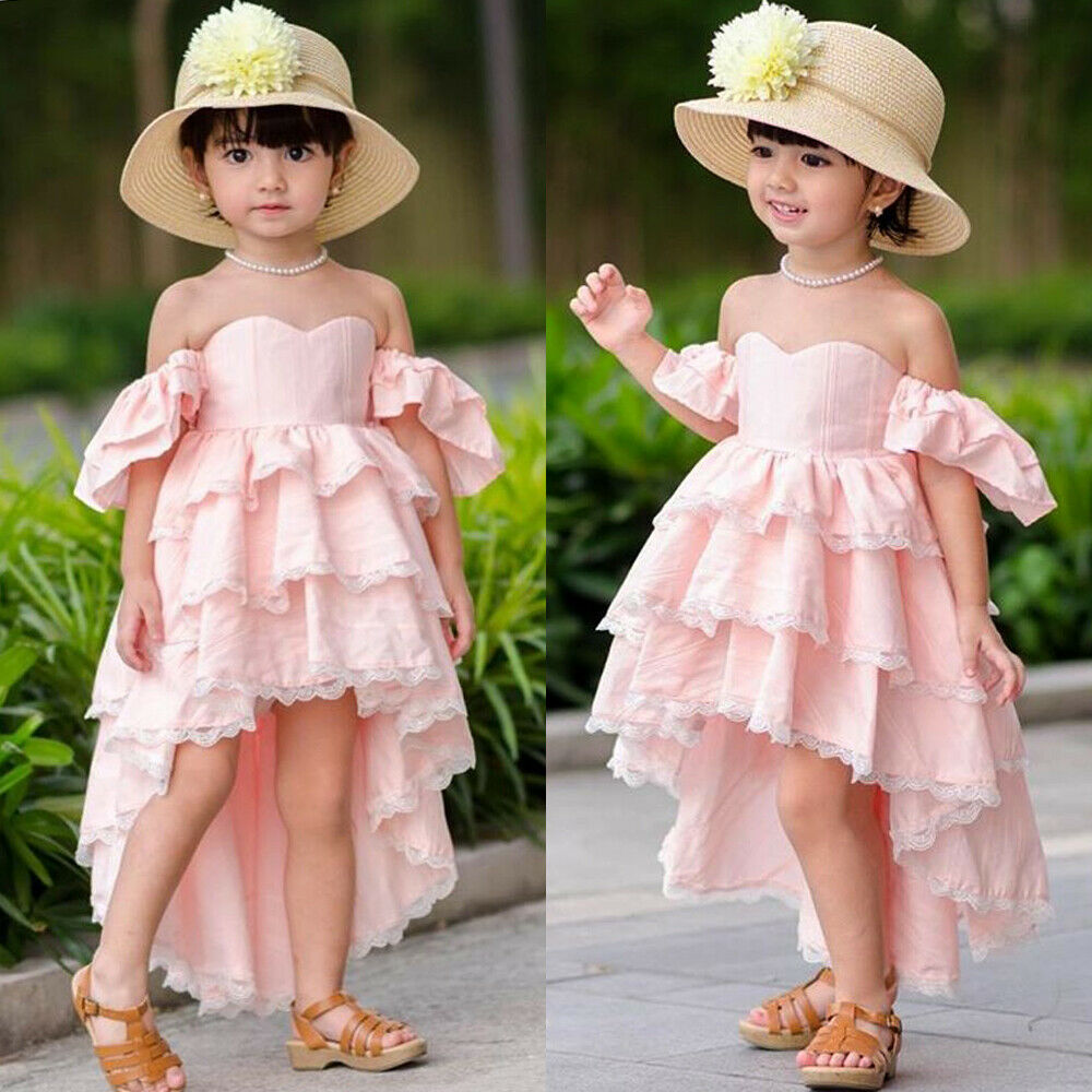 US Kid Baby Girl Lace Dress Off Shoulder Ruffle Party Bridesmaid Pageant Dresses