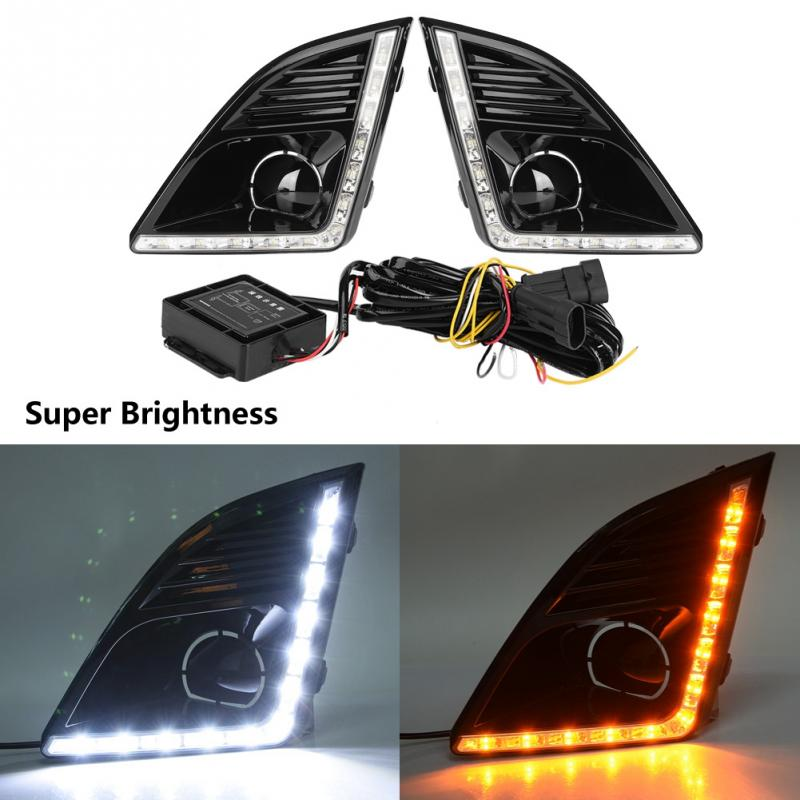 1Pair Car Daytime Running Light Turn Signal 2 Color DRL LED Fog Lamp for Chevrolet Cruze