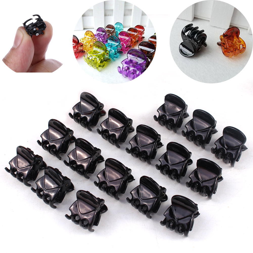 12Pcs/sets Fashion Simple Black Crab Hair Claws Women Girls New Plastic Mini Hairpins Hair Clips Clamp Hair Accessories For Gift