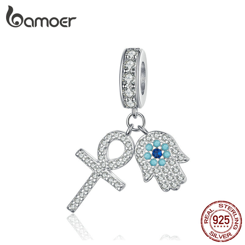 BAMOER Guardian Hamsa Hand Pendant Charm for Bracelet Bangle 925 Sterling Silver Fatima Hand Guardian Jewelry for Women BSC084