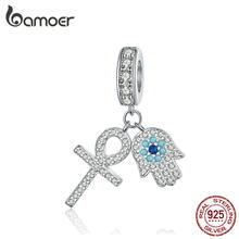 BAMOER Guardian Hamsa Hand Pendant Charm for Bracelet Bangle 925 Sterling Silver Fatima Hand Guardian Jewelry for Women BSC084(China)