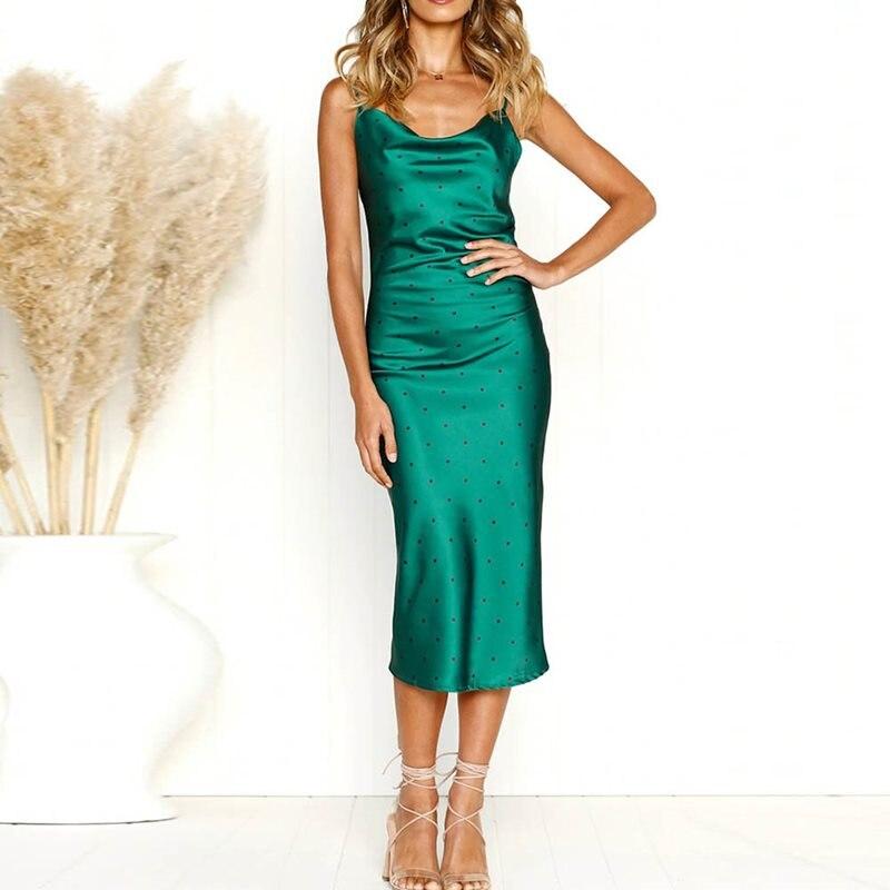 Sisjuly летнее платье на бретелях женское винтажное платье в горошек с открытой спиной, сексуальное вечернее платье в стиле ретро, зеленые элег...