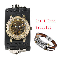 Punk Cool Mechanical Watch Men Automatic Timepiece Skull Leather Wrist Watches Steampunk Watch for Men Casual Man Clock reloj