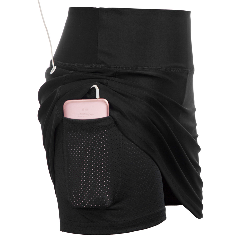 new Black/Navy Blue Women Athletic Sportswear Elastic Waist Stretchy Culotte Skirt With Mesh   Shorts   slim pockets   shorts   skirts