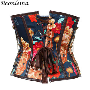 Image 4 - Beonlema Vintage Steampunk Sexy Korse Floral Erotic Women Corset Waist Controlling Push Up Corsets Femme Overbust Punk Bustiers