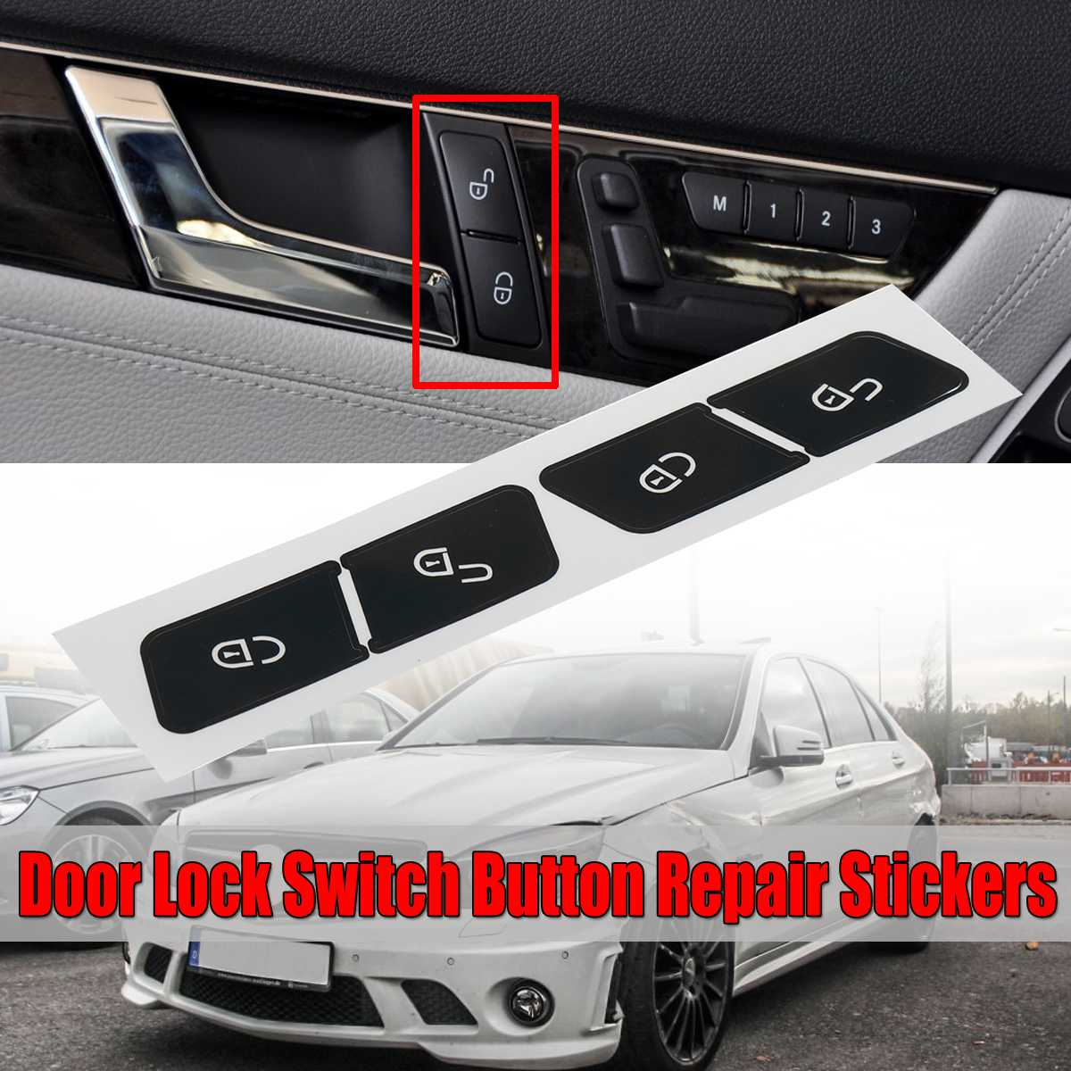 1x Car Inner Door Lock Switch Button Repair Car Stickers Decals For <font><b>Mercedes</b></font> For Benz W204 <font><b>C300</b></font> 2007-2014 Fix Ugly Button image