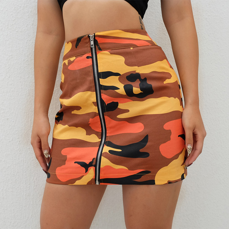 Camo Mini Denim Skirts Womens High Waisted Short Skirt Orange Gray Camouflage Sexy Streetwear Harajuku Skirt 2018 Summer Femme