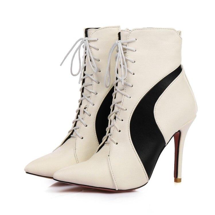 Printemps Bottines Rouge Peluche De Court Mélangées Femmes 34 Noir Pointu blanc Couleurs Grande 2019 Talons Hauts Taille 47 Vin Bout Super Chaussures Blanc En 5841 Rj5A34L
