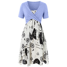 Summer Dress Plus Size Floral Print Layered Cami Criss Cross Crop Top Dress Casual Spaghetti Strap T-Shirts Two Pieces Dress Set
