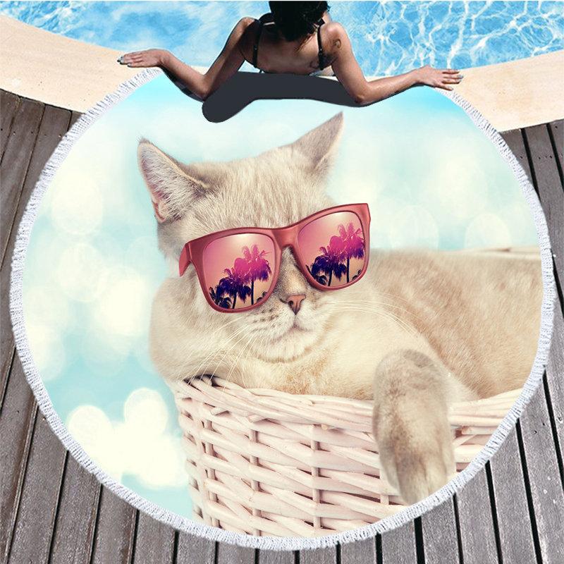 Serviette De Plage coton chat Serviette De Plage Telo Mare Toalla Playa Grande Serviette De Plage ronde serviettes De bain pour adultes Recznik Plazowy