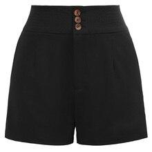 2b06366ac1 Cintura alta negro rojo pantalones cortos Retro pantalones cortos frente  botones decorados Vintage mujer pantalon Corta