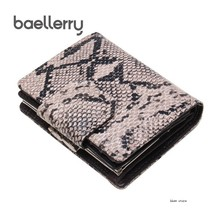 Купить с кэшбэком New Women Wallets Genuine Leather Wallet Coin Purse Leather Card Holder Women Snake Split Leather Short Wallet Cartera Mujer
