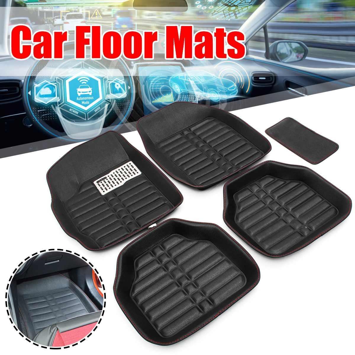 5Pcs Universal Car Floor Mats Front Rear Driver Passenger Seat Ridged Floor Mat Interior Carpet Heavy   Floor Protector floor