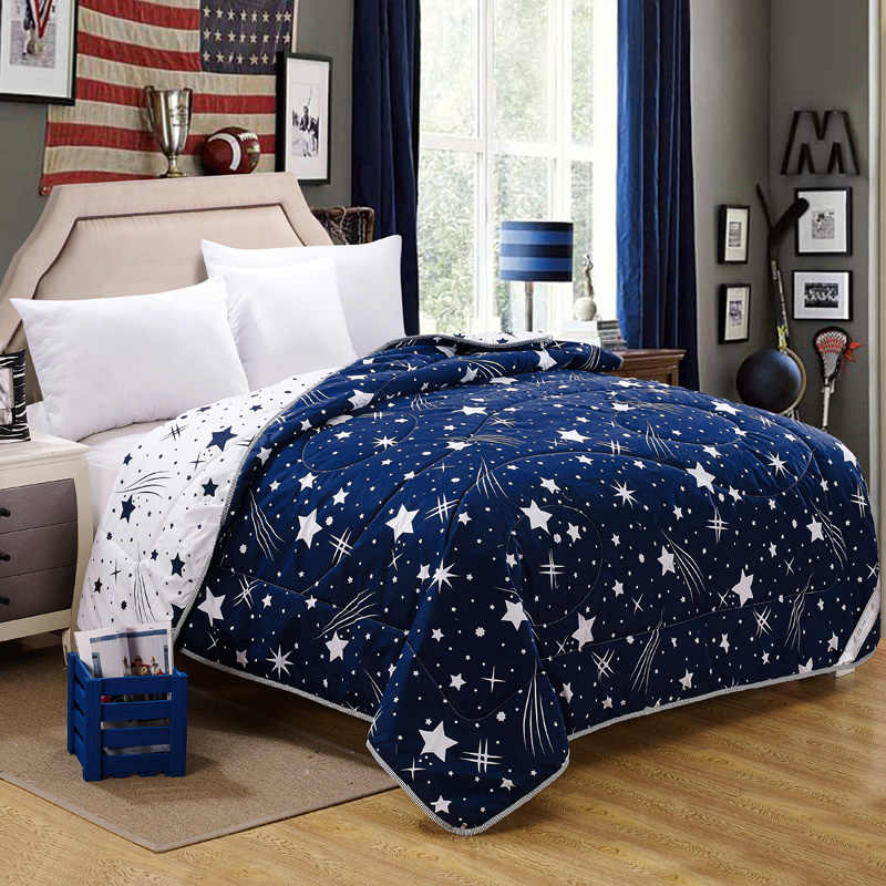 100% Microfiber Fabric Summer Throw Quilts Comforter Starry Printed Queen King Size Bed Cover Sheet Soft Blanket Single Quilts45
