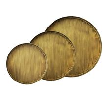 3 Sizes Round Wooden Golden Serving Tray Wooden Plate Tea Food Server Dishes Water Drink Platter Food Bamboo Home Decoration