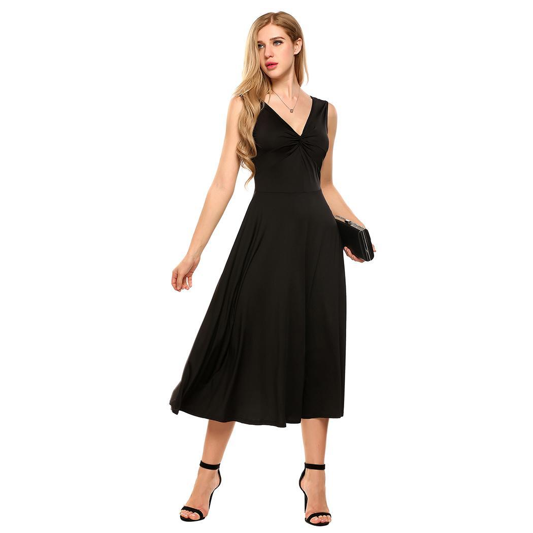 AL'OFA Women Fashion V-Neck   Cocktail     Dress   Sleeveless High Waist Front Cross Solid A-Line Party   Dress   Sexy   Cocktail   Club   Dresses