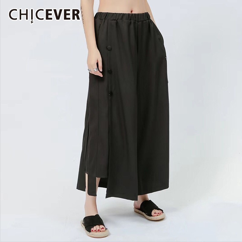 CHICEVER Summer Solid Black Women   Pants   Elastic High Waist Patchwork Button And Pockets Loose Big Size Female   Wide     Leg     Pants   New