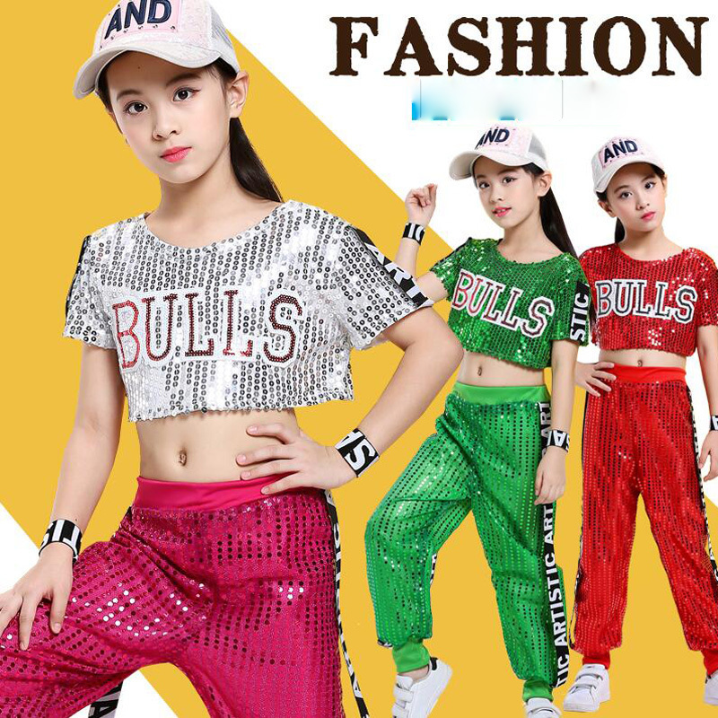 Kids Sequined Pants Jacket TShirt Hip Hop Clothing Jazz Dance Costumes Suit Girls Boys Stage Wear Ballroom Dancing Outfits
