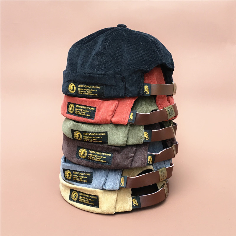 Restore Ancient Corduroy Original Tide Brand Skullcap Men And Trend Hip-hop Seaman Hat Autumn And Keep Warm Nothing Eaves Hat iPhone