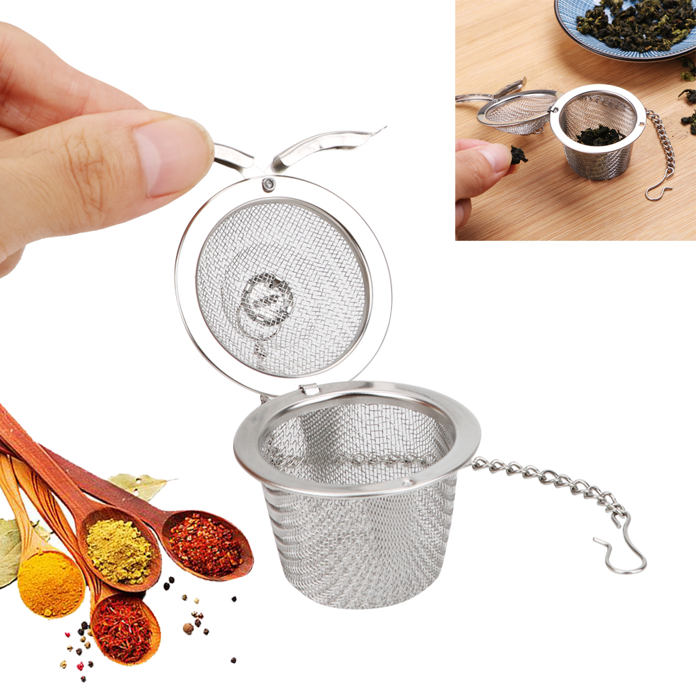 Tea Spice Strainer Mesh Herbal Ball Stainless Steel Seasoning Ball Reusable Teakettle Locking Tea Filter