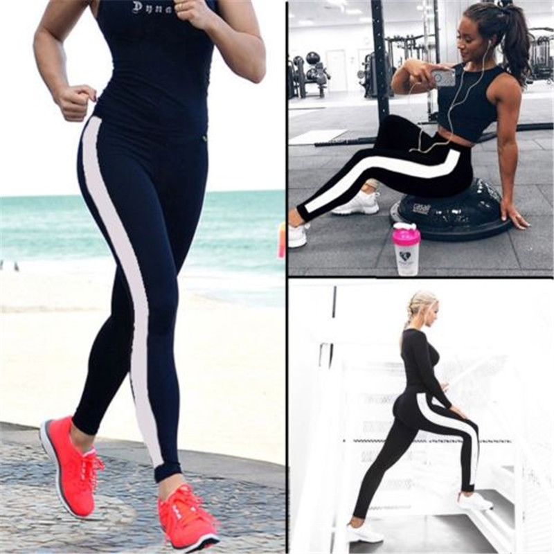 Fitness Women Pant  2019 New Arrival Striped Slim Black Long Pant  Clothes Ladies Casual Pants